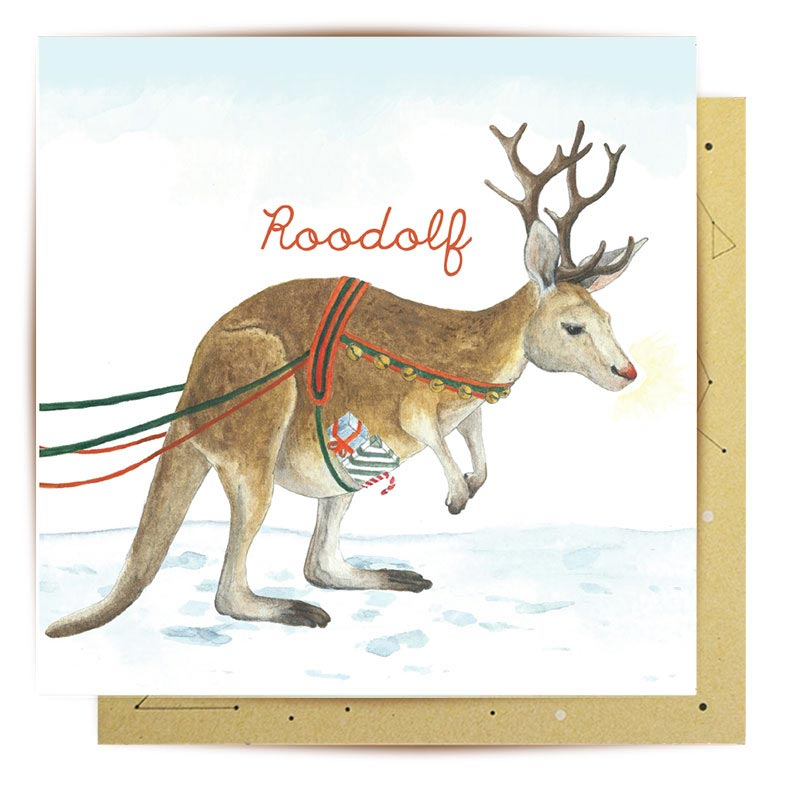 Australian Themed Kangaroo Christmas Greeting Card made in Australia