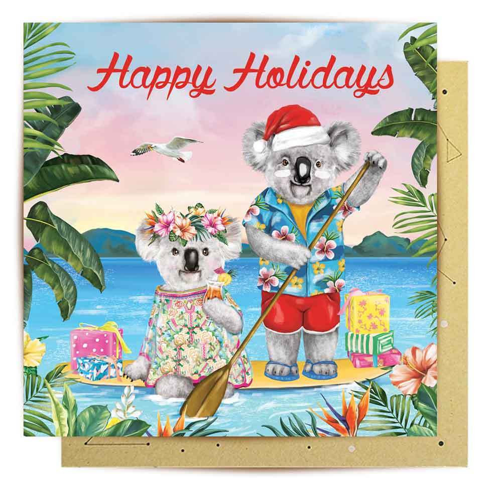 Australian Koala Themed Christmas Card Made in Australia LaLaLand