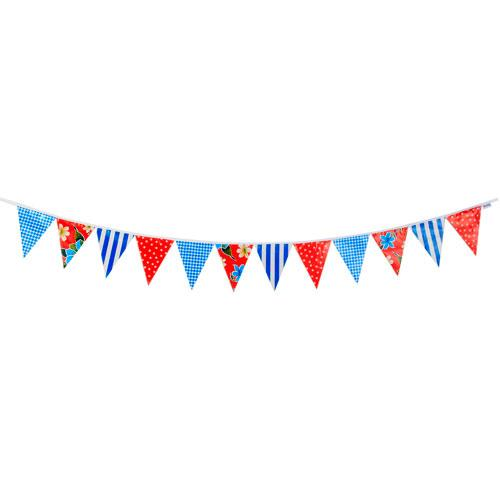 Blue & Red Oilcloth Bunting