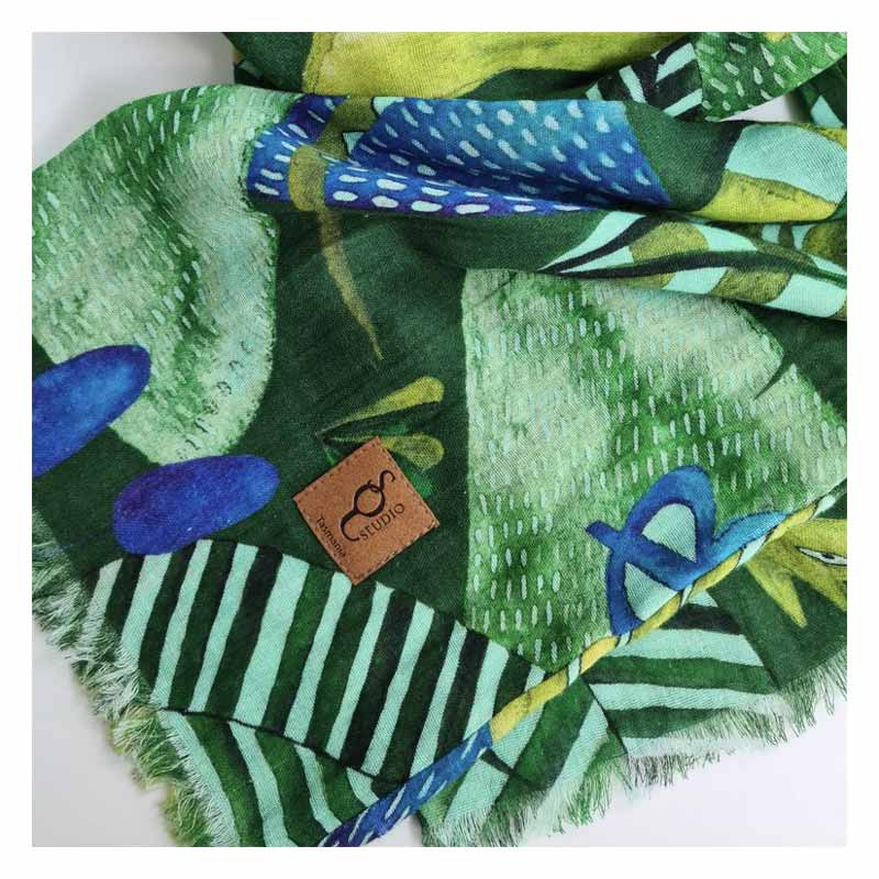 Australian Made Gifts for Women Organic Cotton Green Scarf