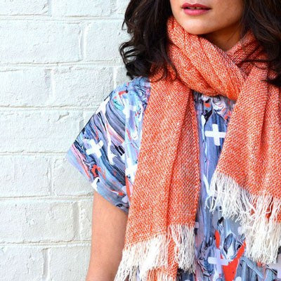 Australian Made Gifts & Souvenirs with the Paprika Merino Loose Weave Scarf -by The Spotted Quoll. For the best Australian online shopping for a Scarves