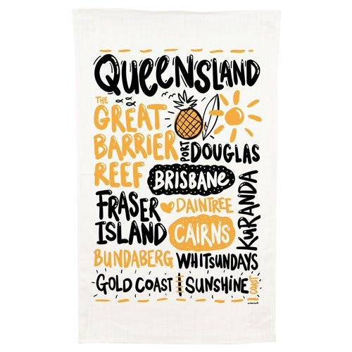 Australian Made Gifts & Souvenirs with the Queensland Cotton Tea Towel -by Alperstein Designs. For the best Australian online shopping for a Tea Towels - 1