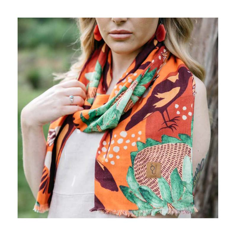 Australian Made Spotted Quoll Magpie Organic cotton scarf