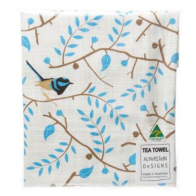 Australian Made Gifts & Souvenirs with the Blue Wren Cotton Tea Towel -by Alperstein Designs. For the best Australian online shopping for a Tea Towels - 1