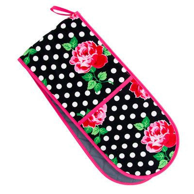 Australian Made Gifts & Souvenirs with the Roses & Polka Dots Double Oven Mit -by Annabel Trends. For the best Australian online shopping for a Oven Mits