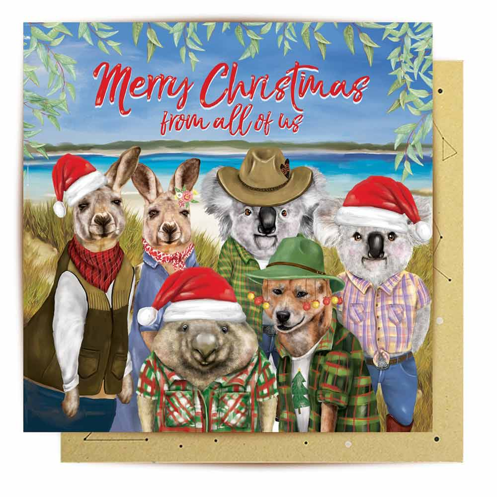 Australian Merry Christmas From All Of Us Novelty Card