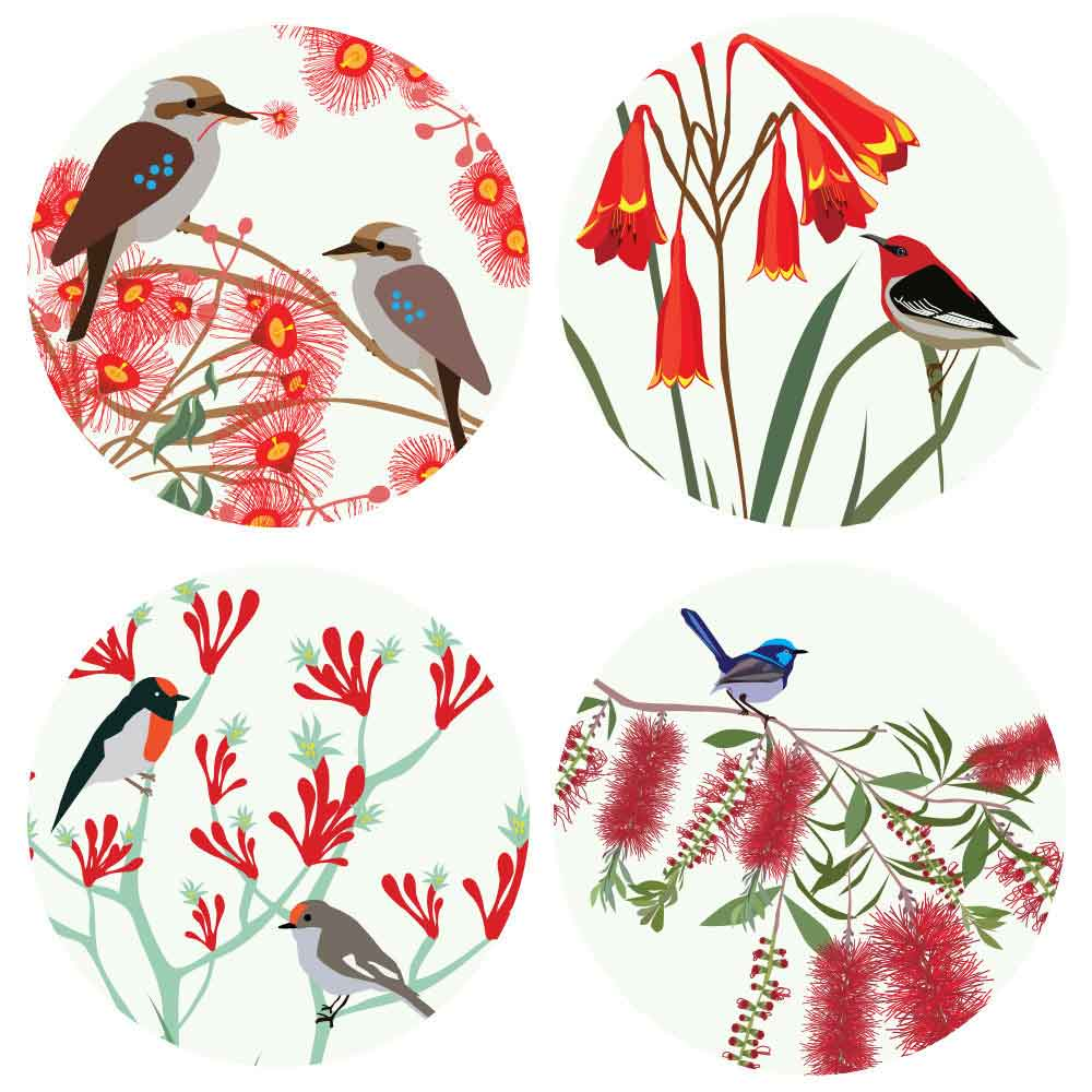Australian-Garden-Themed-Native-Bird-Coasters