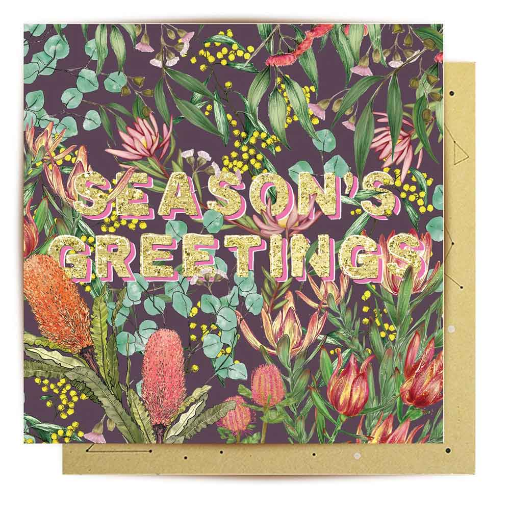 Australian Native Flowers Seasons Greeting Christmas Card