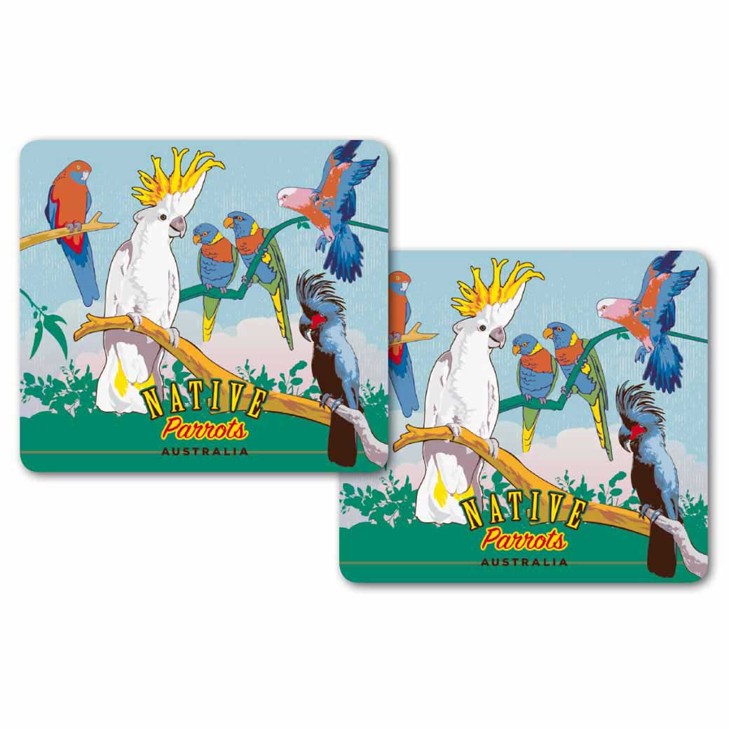 Australian Native Bird Souvenir Coasters Made in Australia