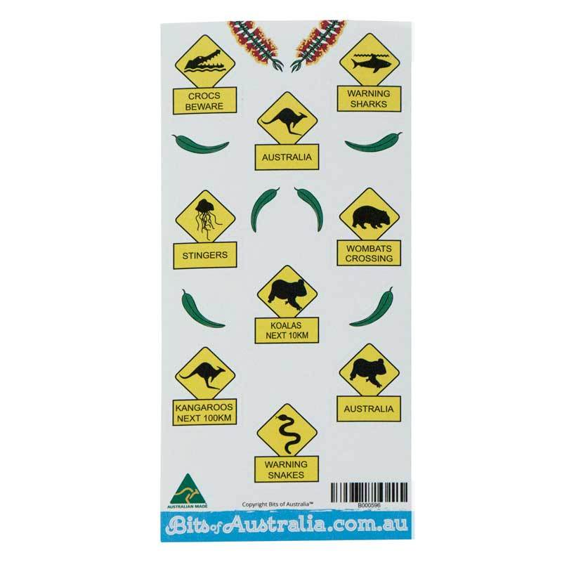 Australian Road Signs Sticker Sheet