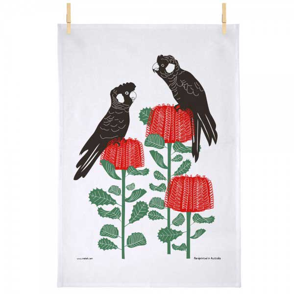 Australian Souvenir Tea Towel Banksia & Black Cockatoo