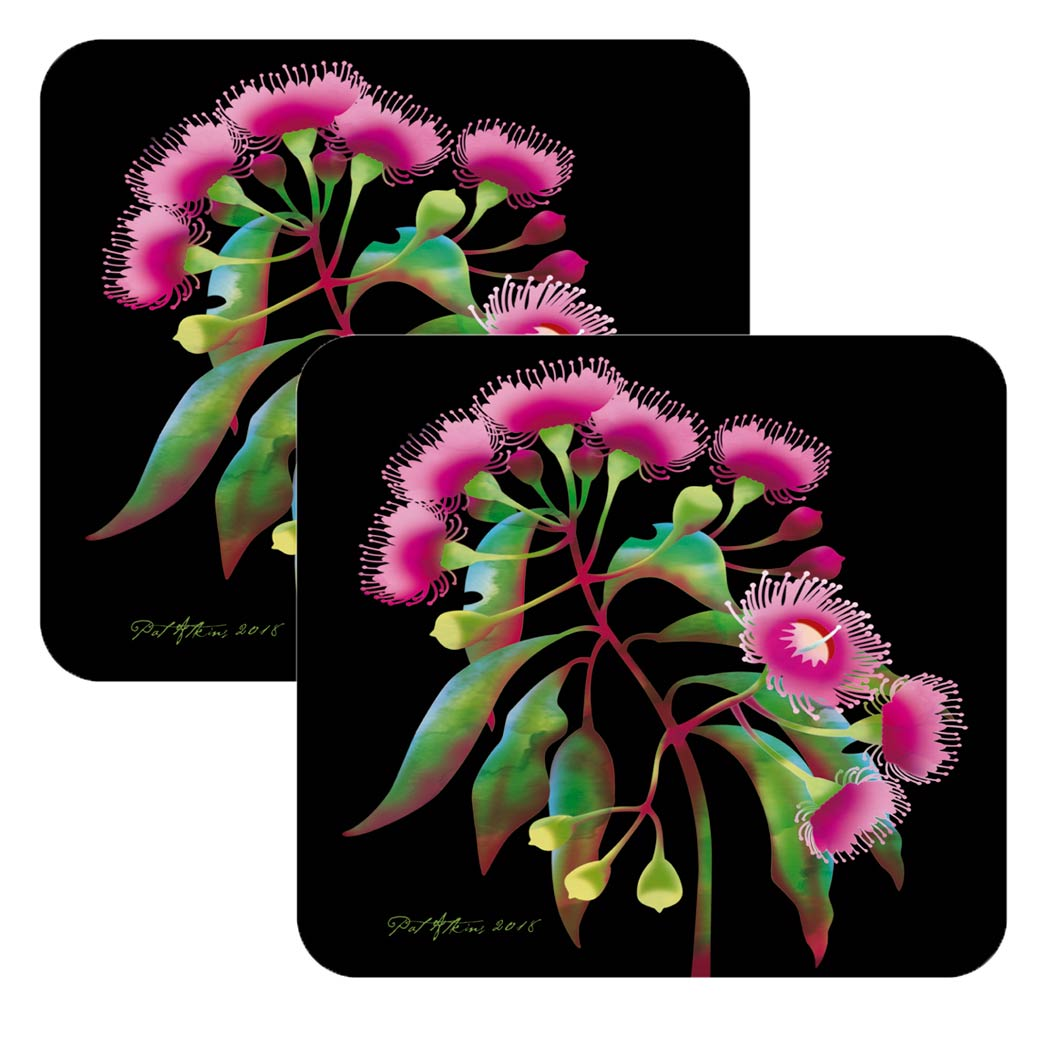 Australian Souvenir Coasters - Pink Flowering Gum Pack of 2 Under $10