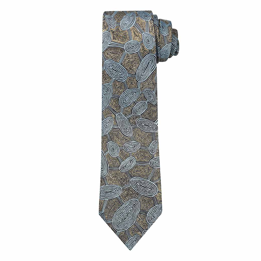 BLUE-GOLD-Aboriginal-Mens-Tie-Australian-Made Unique Corporate Gifts Sydney