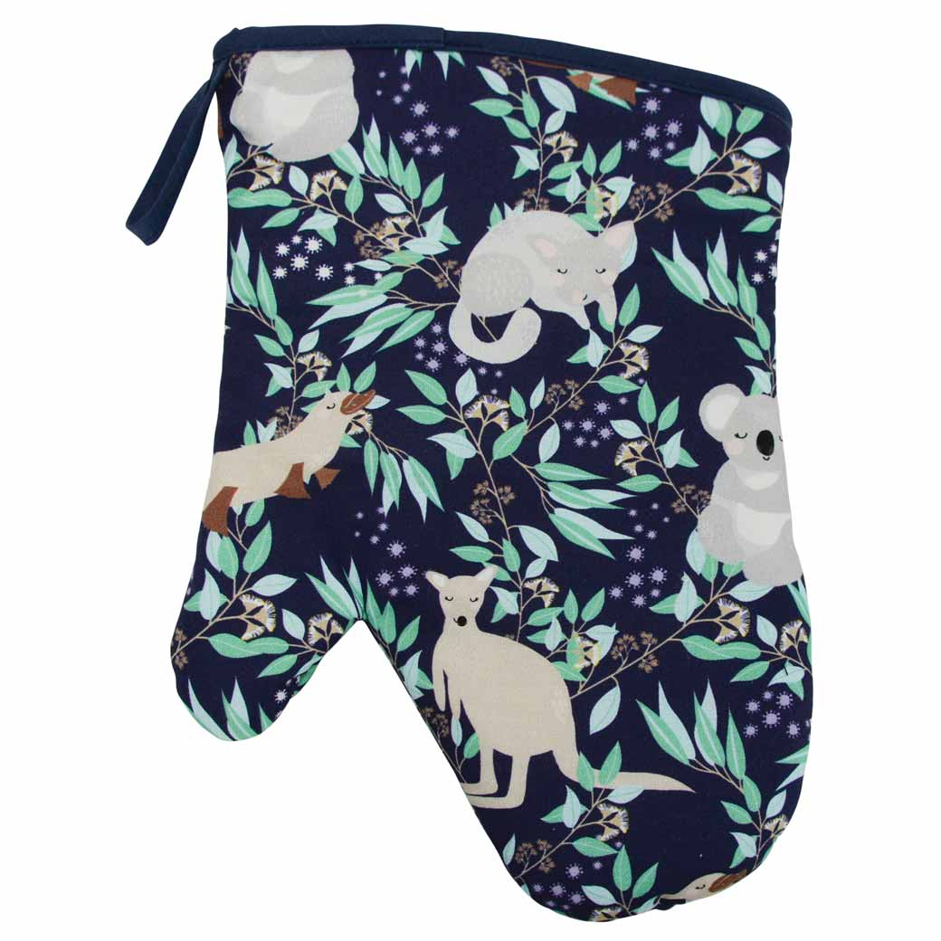 Kitchen Oven Glove Mitt Australian Animals Fabric