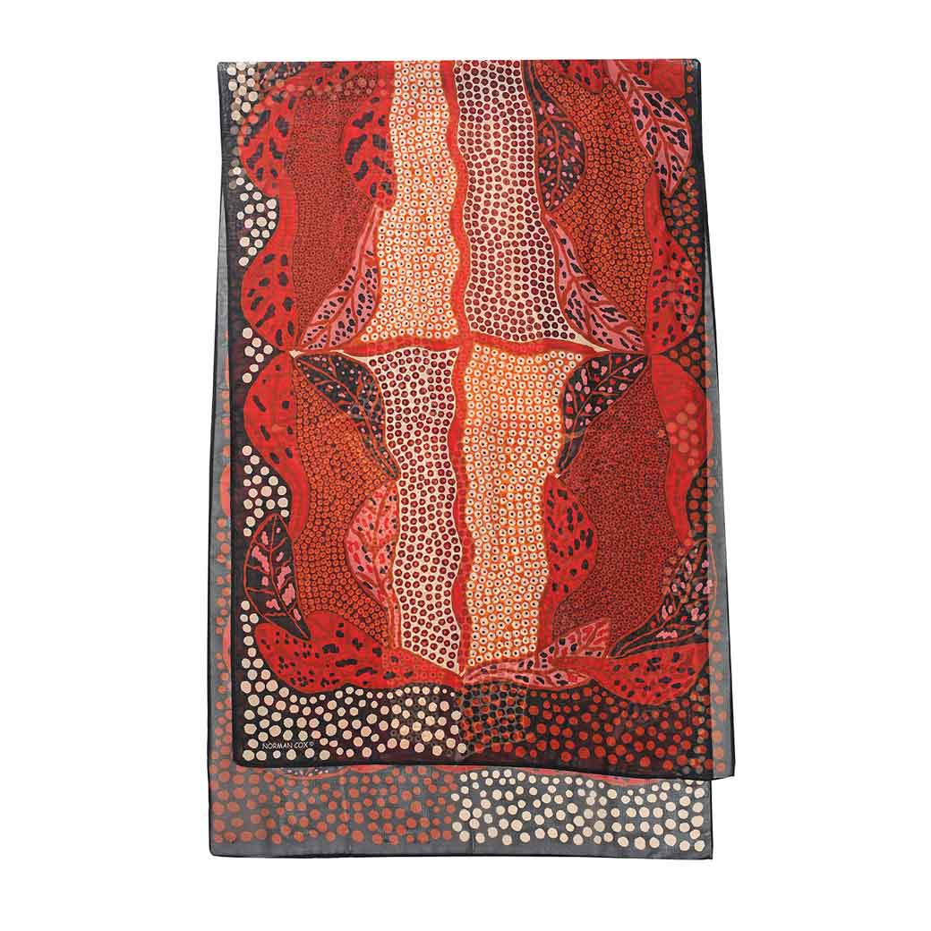 Australian Scarves for Women Buy Online - Red Indigenous Design Chinese New Year Gift