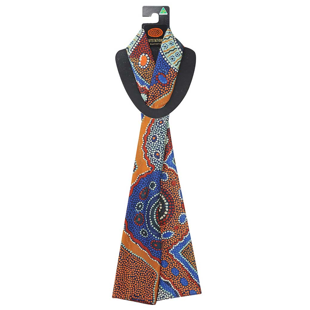Quality Australian Souvenir Scarf with Aboriginal Designs by Norman Cox Made in Australia