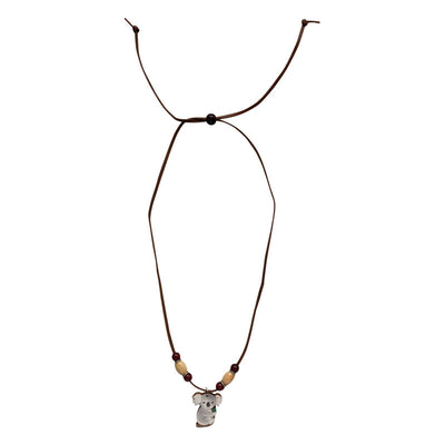 Koala gifts for kids Australia - wood & leather necklace