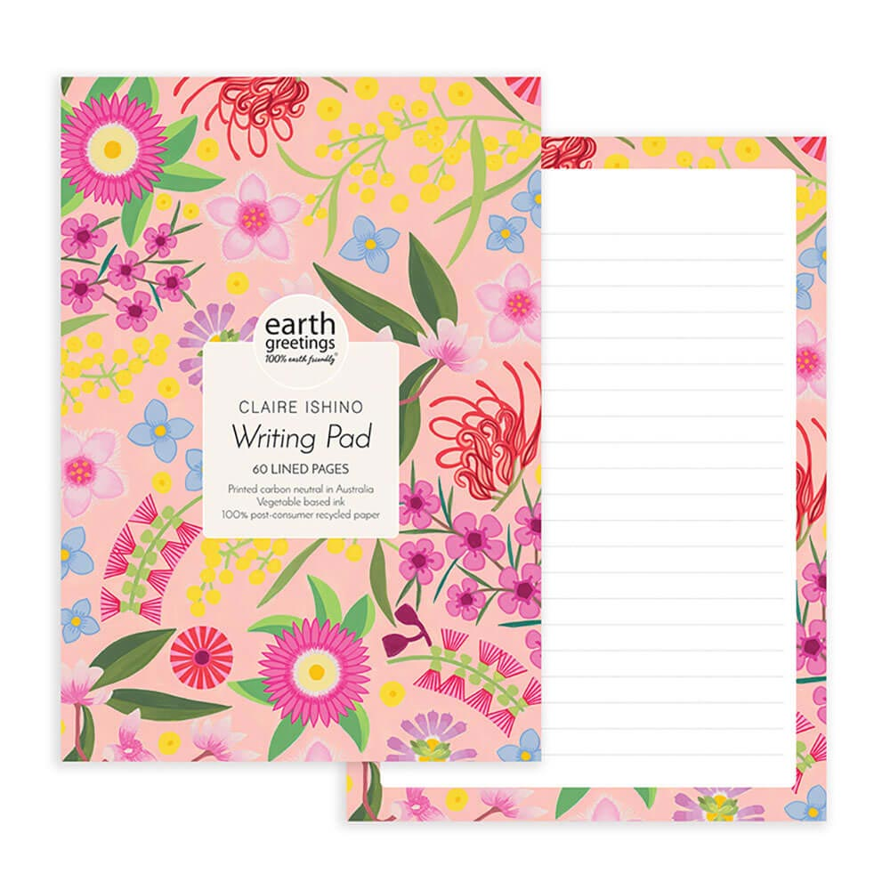 Australian Stationery Gifts A5 Notepad Coastal Flowers Earth Greetings