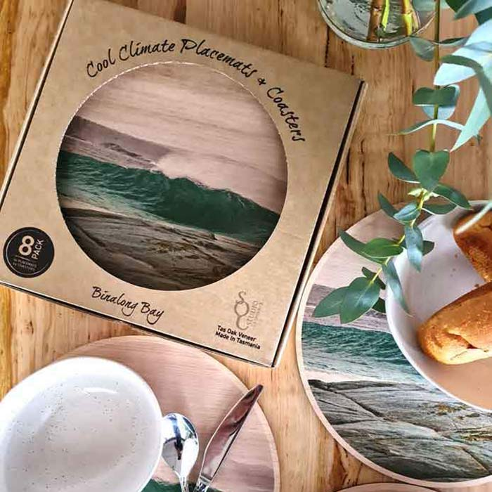 Australian Surf Inspired Homewares Tasmanian Oak Placemat and Coasters