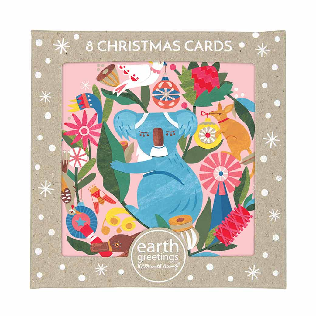 Australian-Themed-Chtistmas-Cards-Box-of-8-Koalas