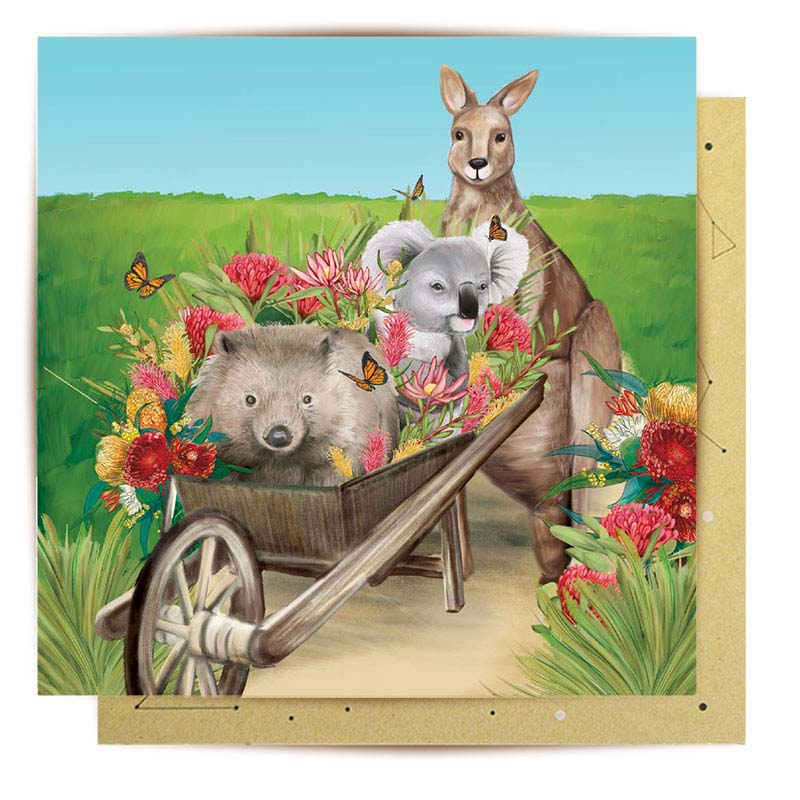 Australian Themed Greeting Card - Perfect for Gardeners Kangaroo, Koala & Wombat Wheelbarrow Friends