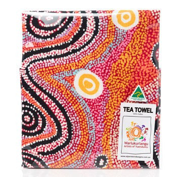 Australian Made Gifts & Souvenirs with the Otto Simms Aboriginal Tea Towel -by Alperstein Designs. For the best Australian online shopping for a Tea Towel