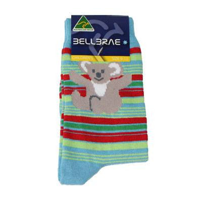 Australian Made Gifts & Souvenirs with the Kids Stripe Koala Socks Blue -by Bellbrae. For the best Australian online shopping for a Socks - 1