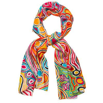 Australian Made Gifts & Souvenirs with the Judy Watson Silk Scarf -by Alperstein Designs. For the best Australian online shopping for a Scarves - 1
