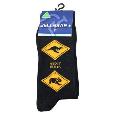 Australian Made Gifts & Souvenirs with the Mens Road Sign Socks Black -by Bellbrae. For the best Australian online shopping for a Socks - 1