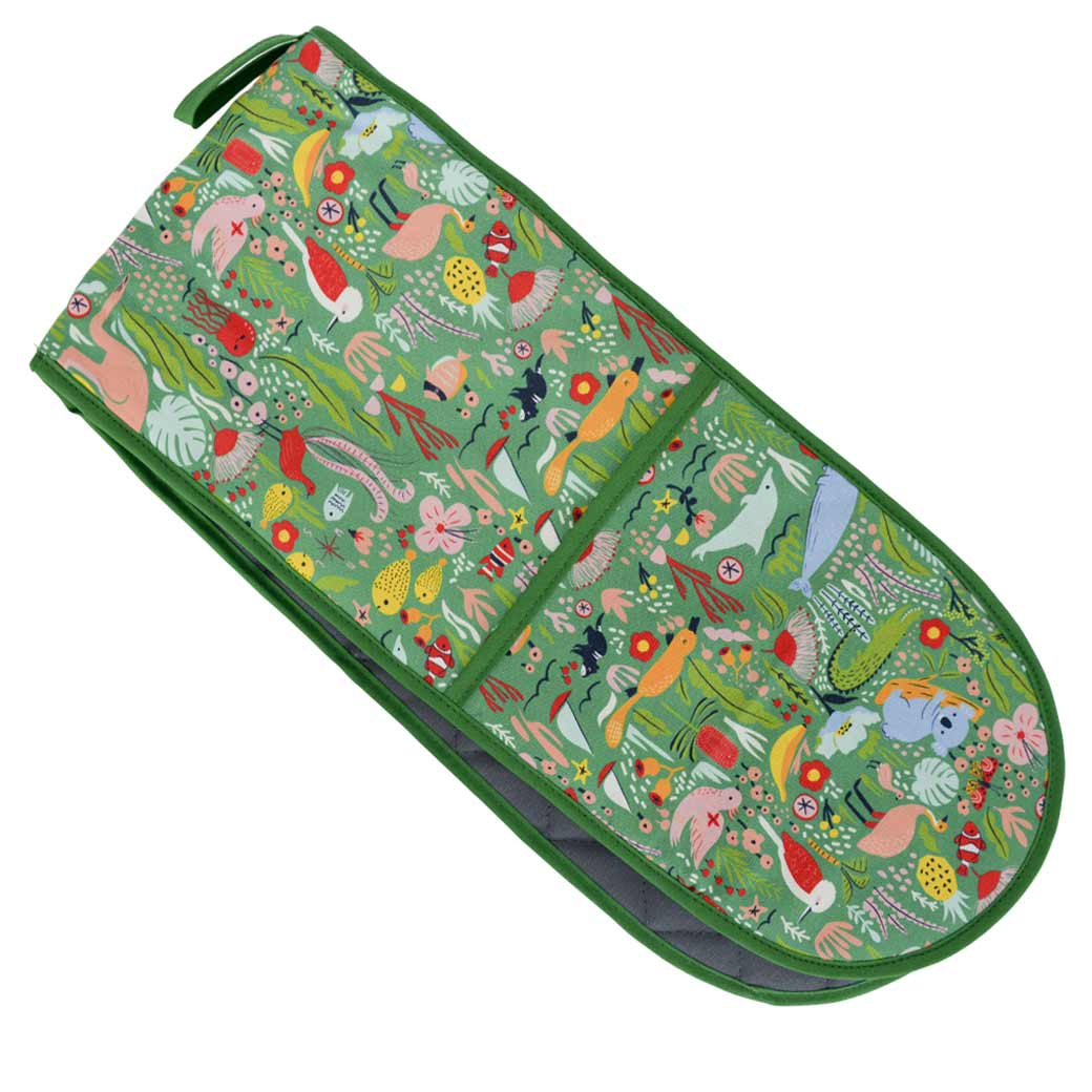Down Under Green Double Oven Mitt