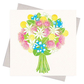 Australian Made Gifts & Souvenirs with the Gum Blossom Bouquet Gift Card -by Earth Greetings. For the best Australian online shopping for a Greeting Cards