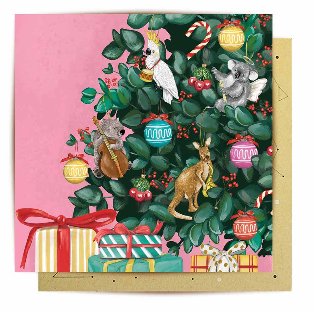Australiana Christmas Tree Kangaroo Koala Cockatoo Card