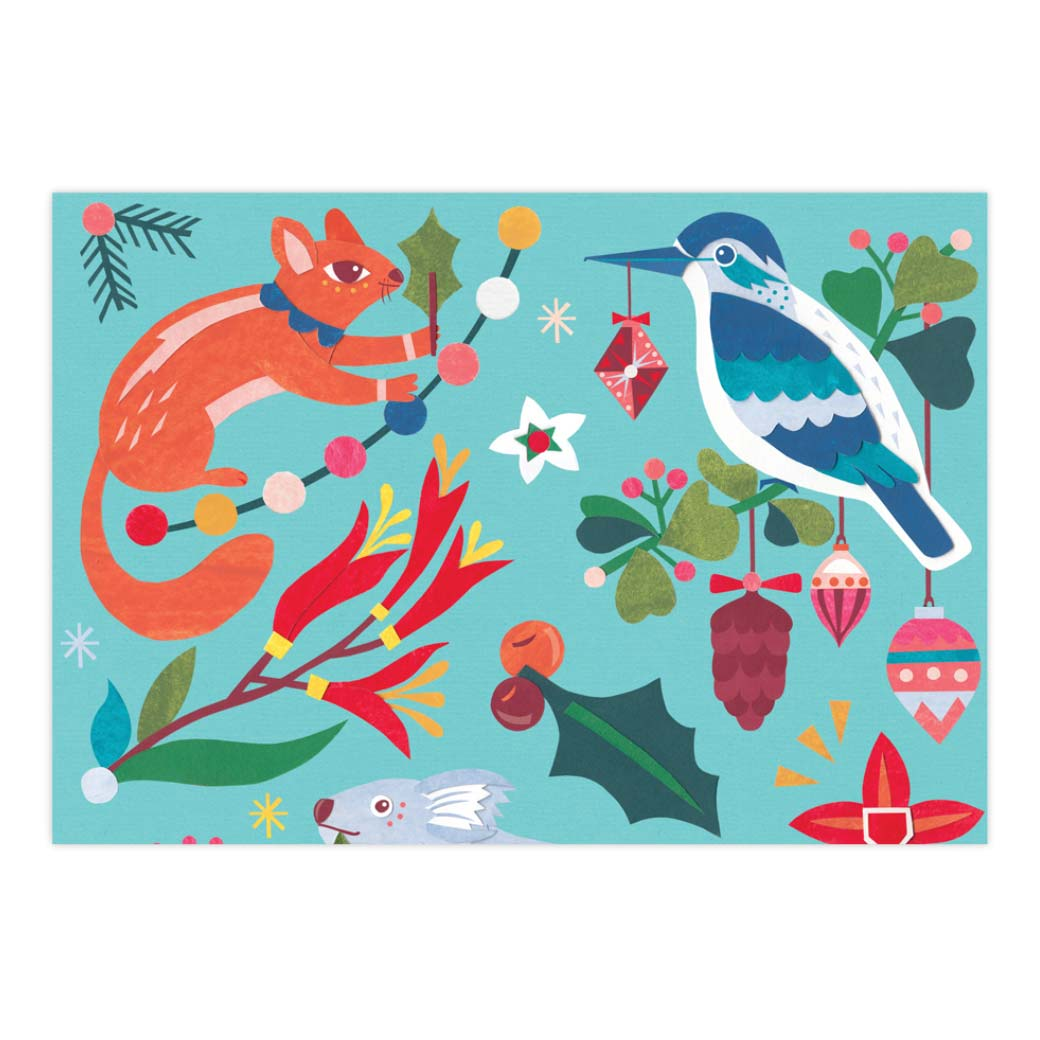 Australian Christmas Wrapping Paper Made in Australia - Possums, Koalas & Native Birds