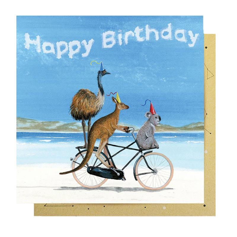 Australian themed birthday card with emu, kangaroo & koala