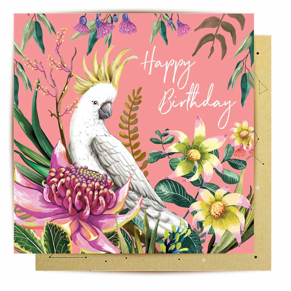 Australian Cockatoo Happy Birthday Greeting Card by La La Land Sydney