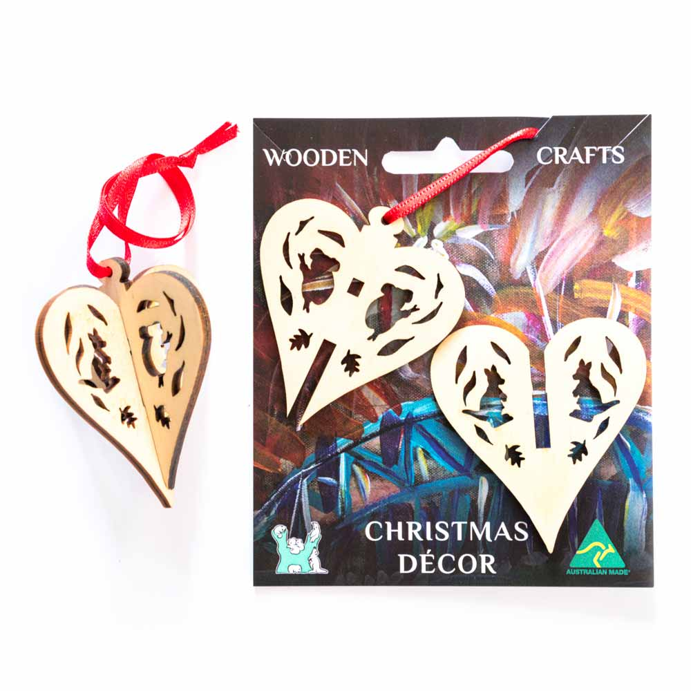 Australiana Heart Christmas Tree Ornament Made in Australia