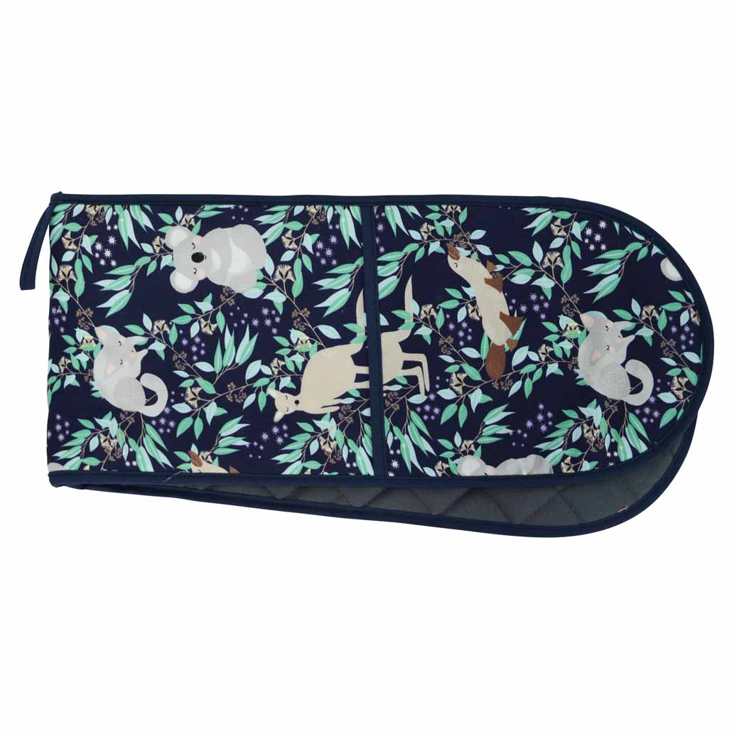 Souvenir Double Oven Mitt for the Kitchen modern Australiana print featuring adorable Koalas, Kangaroos and other native wildlife