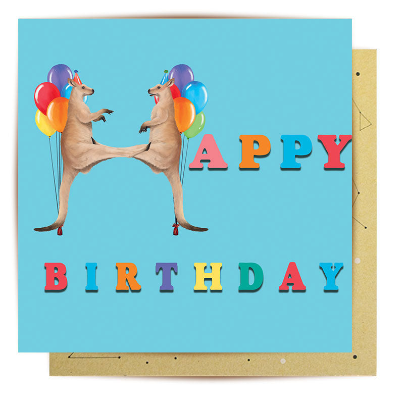 Australian Themed Birthday Cards - Happy Birthday to Roo! Made in Australia By La La Land A