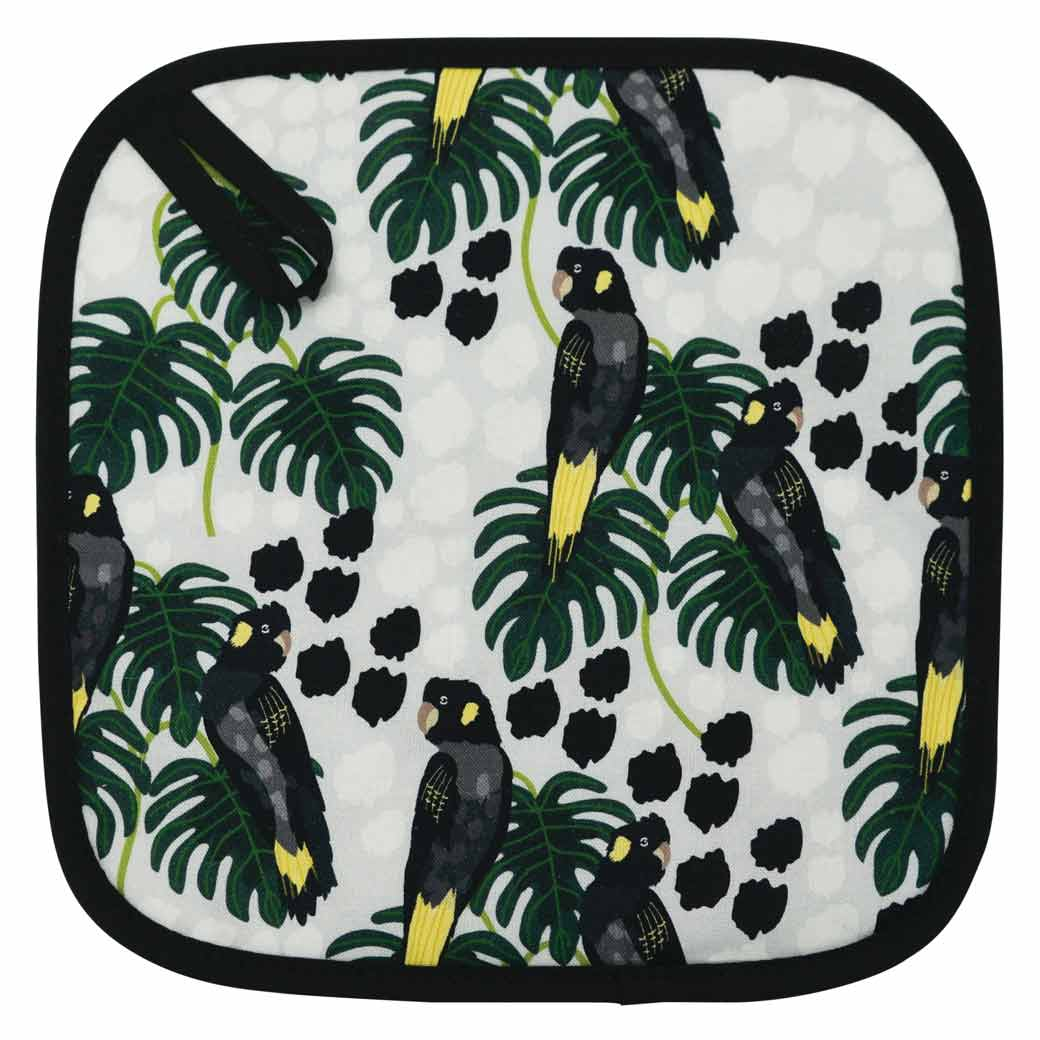 Australian Pot Holder Black Cockatoo Design Made in Australia