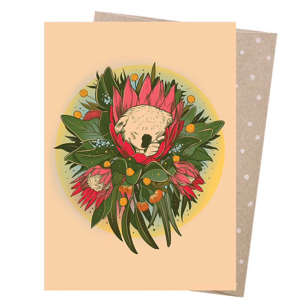 Australian Made New Baby Card - Koala & Eucalyptus Gum Leaves