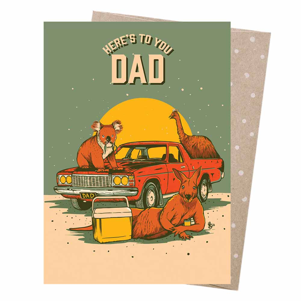 Australiana Novelty Fathers Day Card Kangaroo, Emu, Koala Moonshine Madness