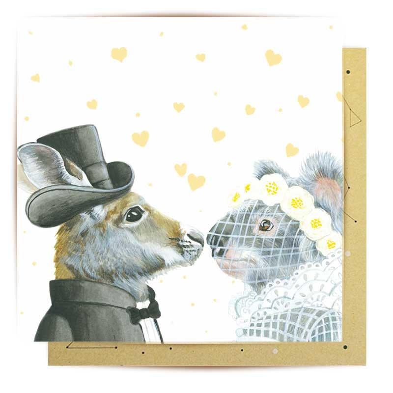 Australian Themed Wedding Card With Koala Kangaroo Illustration