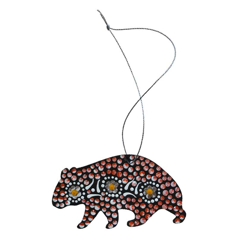 Wombat Hand Painted Aboriginal Art Decoration