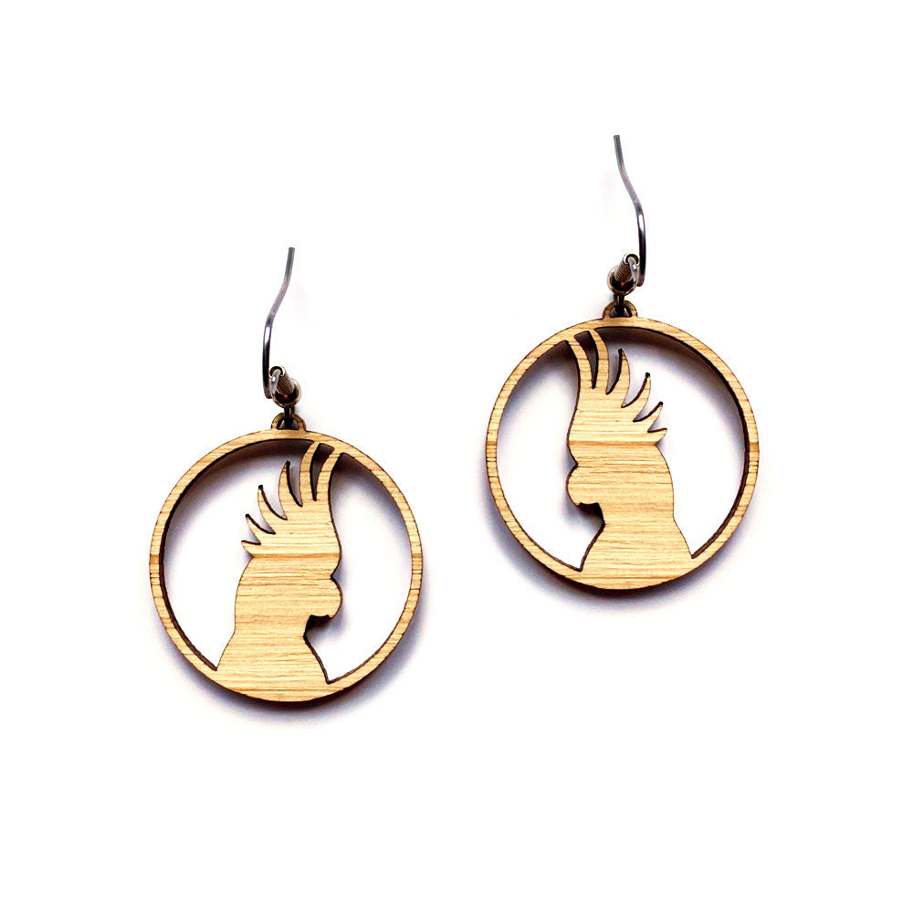 Australiana wooden cockatoo earrings gifts for girls