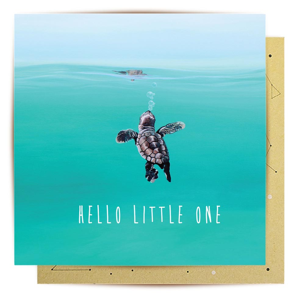 Australian Made Turtle New Born Greeting Card