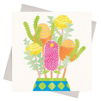 Australian Made Gifts & Souvenirs with the Happy Banksias Gift Card -by Earth Greetings. For the best Australian online shopping for a Greeting Cards