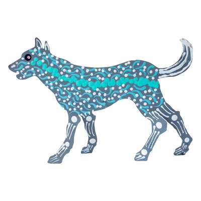 Aboriginal Art Metal Dog - Stinky