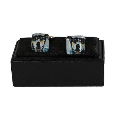 Australian Made Gifts & Souvenirs with the Blue Heeler Cufflinks -by Simone Dennis. For the best Australian online shopping for a Jewellery