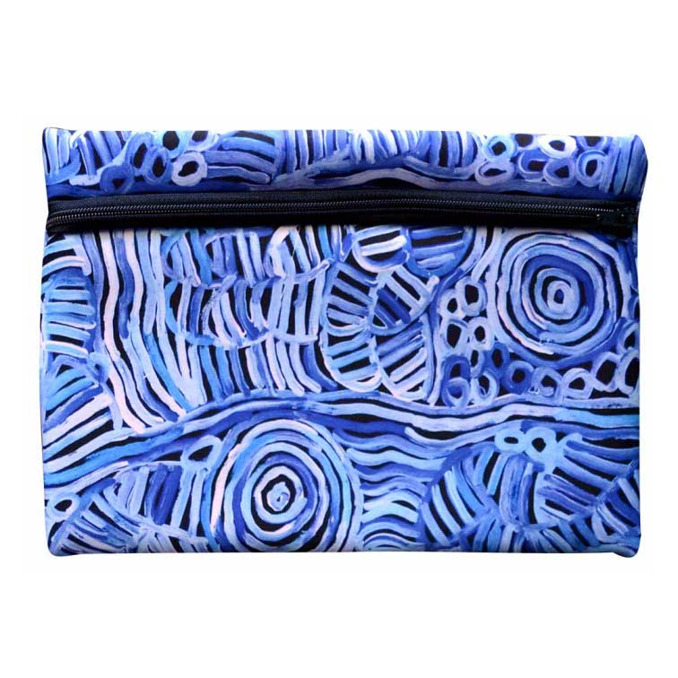 Australian Gifts for Men - Blue Aboriginal Technology Zipper Case