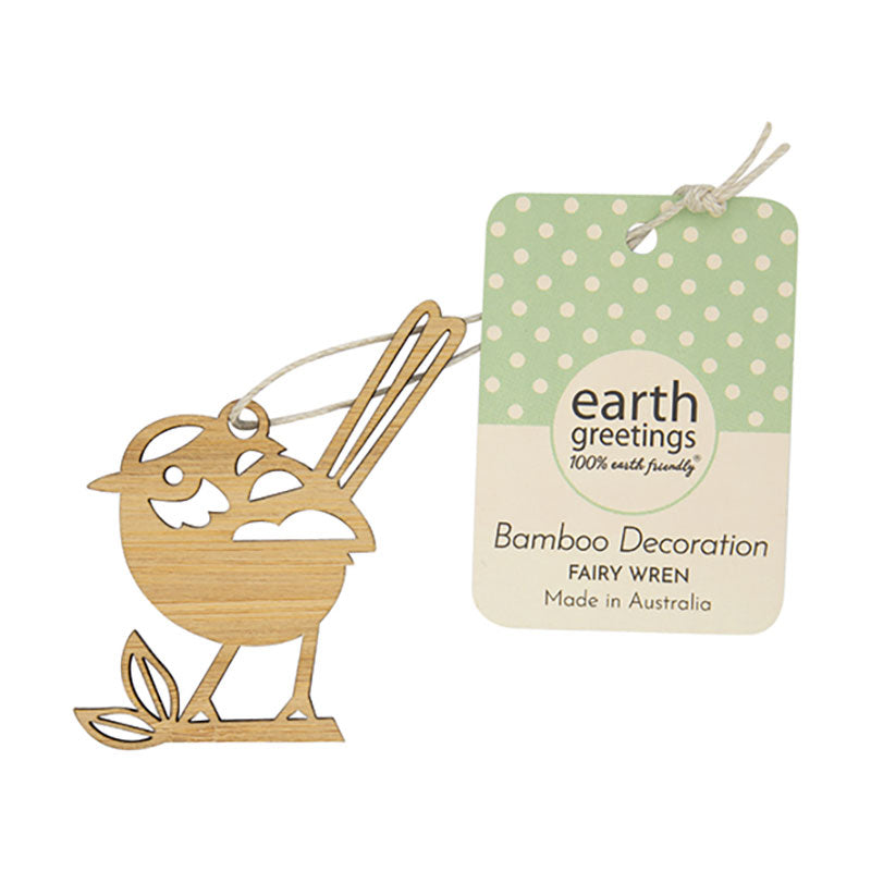 Blue Wren bamboo wooden Christmas ornaments